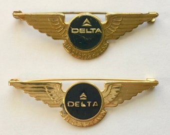 Vintage 1960's DELTA AIRLINES Junior Stewardess and Jr Captain Metal Pilot Wing Pins