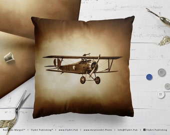 Airplane Pillow, Airplane Cushion, Throw Pillow, Pilot Gifts, Home Decor, Aircraft Pillow Case, Cover, Bedding, Nieuport 17/23 Scout