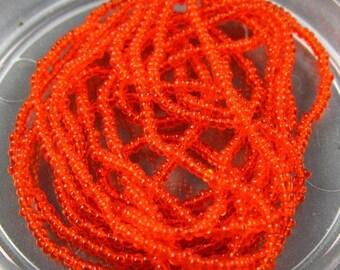 Vintage Czech Glass Micro Seed Beads - Translucent Orange