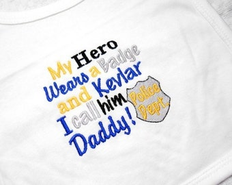 Baby Bib, Police Baby Bib, My Hero Wears, a Badge, Cop Baby, Baby Shower Gift, Gift for Police Baby, Soft Cotton, Medium, Gender Neutral