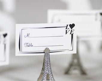 50pcs Small Vintage Eiffel Tower Place Card Holder Clips Paris Wedding Favor Rustic Decoration Memo Photo Holders
