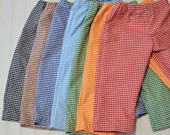 Boys Gingham shorts or pants, Child shorts, boy or girl, many colors, thanksgiving, Easter...3m,6m,9m,12m,18m,2t,3t,4t,5,6,7,8,10,12