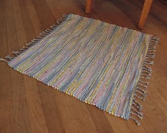 "Hand Woven Rag Rug Small Yellow Blue Cotton 26"" x 26"""