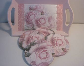 """Tray shabby chic """"roses anciennes"""" and its coasters"""