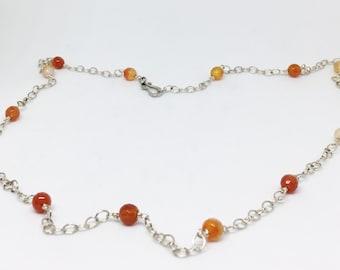 Carnelian Agate Sterling Silver Station Necklace - Orange Gemstone Jewelry - Handmade Jewelry - Adjustable Necklace - Carnelian Jewelry