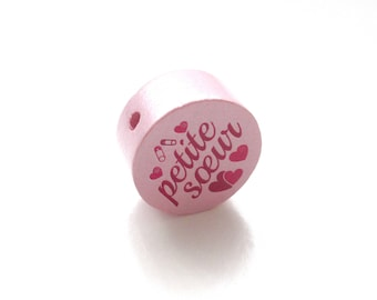 Little sister soft pink wooden bead