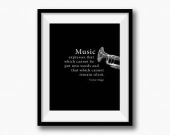 """VICTOR HUGO Music Quote, Trumpet Brass Instrument, Band Director, Orchestra Conductor, Photography, Sepia Tone Photo, Musician 8""""x 10"""" Print"""
