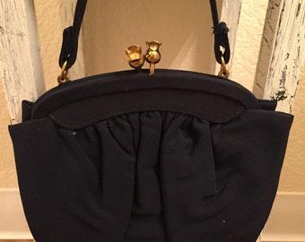 1950s Dark Navy Blue Evening Handbag