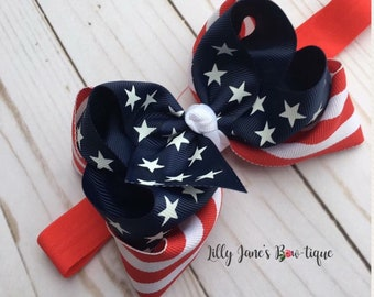 """Double stacked 5"""" Patriotic hair bow"""
