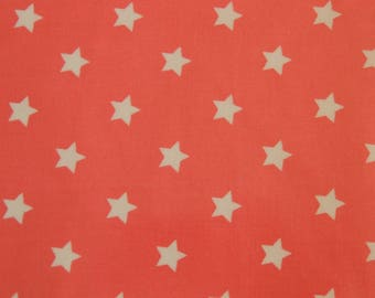Cotton fabric coupon coated salmon background with stars white 50 cm x 45 cm