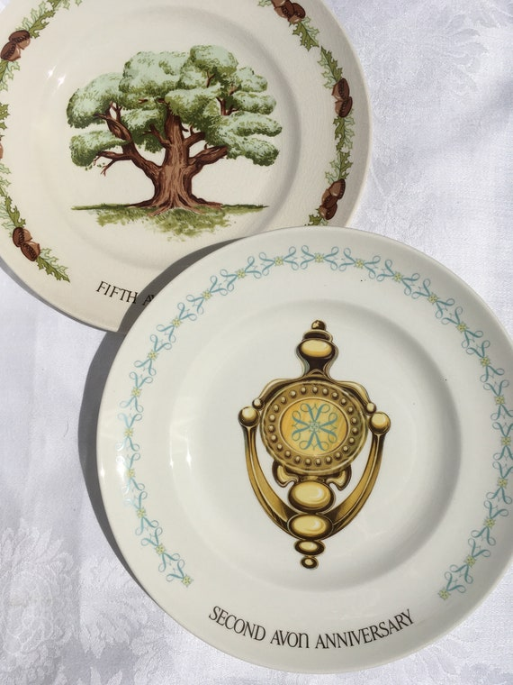 Set/2 Avon Collector Plates 2nd and 5th Anniversary