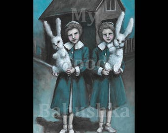 Two Rabbits, Original Painting, Stuffed Animals, White Rabbits, Twins, Girls, Children, Blue Coats, Folk Art, Spring, Easter
