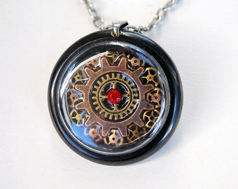 Steampunk jewelry OOAK, Steampunk necklace, Steampunk pendant, Cogs and rhinestones, Recycled clock parts