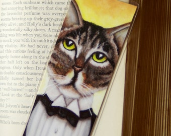 Gatsby Cat Bookmark Brown Tabby Cat in Tuxedo Roaring 20s Inspired Bookmark