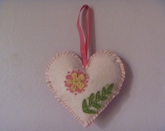 floral felt heart, hanging heart decoration, ecofriendly