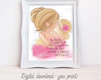 INSTANT DOWNLOAD Adopted and Chosen Girl's Room Decor, Adoptiong Gift - Blonde Hair Mother and Daughter Nursery Picture