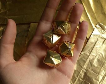 50 golden metallic origami balloons