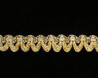 "643.1 Small festoon metallic gimp antique gold 3/8"" (9mm), antique-gold trim, metallic gold trim, gold gimp trim, gold metallic trim"