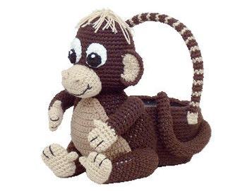 PDF Crochet Monkey Easter Basket. Amigurumi Crochet Pattern (7343) Td creations