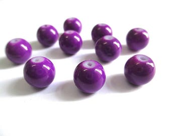 10 purple glass beads painted 10mm (T)