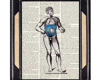 ANATOMICAL MAN art print wall decor surreal human anatomy illustration blue world within black on upcycled vintage dictionary book page 8x10