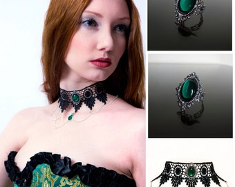 Emerald green gothic necklace choker and ring set - SINISTRA choker and matching ornate filigree gothic ring