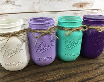 Purple and Teal Painted Mason Jars |  Mermaid Mason Jar Centerpieces | Under the Sea Mason Jar Centerpieces | Mermaid Birthday | Baby Shower