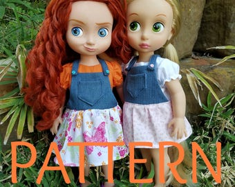 Overall Dress SEWING PATTERN for Disney Animator Dolls, Sewing Pattern, Doll Clothes, 16 in Doll Clothes, Overall Dress Pattern, Overall