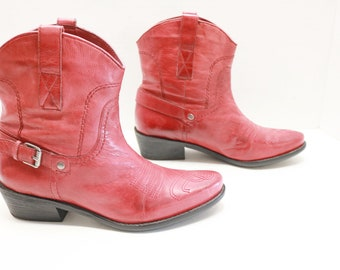 Franco Sarto women red ankle  cowboy western boots size 7