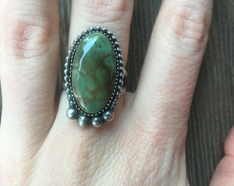 Sterling Silver and Green Turquoise Mountain Ring sz. 6.75