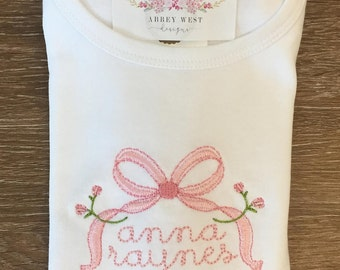 Personalized Vintage Bow Ruffle Tee