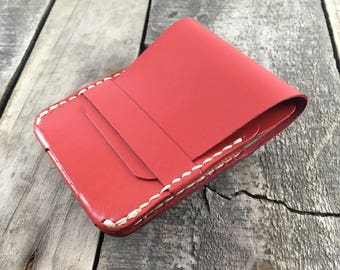 Red Leather Wallet, Kangaroo Leather Wallet, Minimalist Wallet, Slim Wallet, Front Pocket Wallet, Card Wallet, Card Holder Wallet