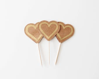 Heart Cupcake Toppers - Kraft Paper Gold Embossing - Pack of 12 -Oh Goodness Paper Co