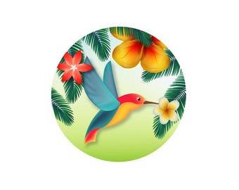 2 cabochons 16 mm glass Tropical Hummingbird - 16 mm