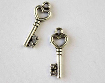 7x20mm Silver Pewter Heart Key Charm - 10 per bag