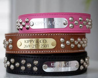 2 inch Personalized Leather Dog Collar, Personalized Dog Collar, 2 inch Studded Leather Collar, Wide Dog Collar, Engraved Leather Dog Collar