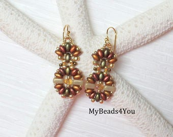 Beadwoven Earrings - Superduo Earrings - Beaded Earrings - Golden Earrings - Fall Jewelry - Fall Earrings - Drop Earrings - MyBeads4You