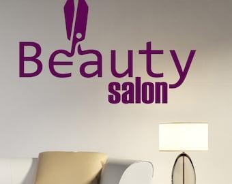 Beauty Salon Logo Wall Decal Vinyl Sticker Make Up Styling Art Decorations Beauty Parlor Shop Window Mirror Decor beauty2