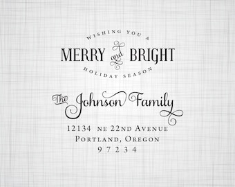 Holiday Address Stamp, Personalized Self Inking or Rubber Address Stamp, Return Address Stamper, Custom Address Stamp, Self Inking or Wood