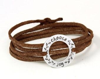 Choose Joy - Wrap Bracelet - Inspirational Bracelet - Faith Bracelet - Religious Jewelry - Personalized Bracelet - Boho Jewelry