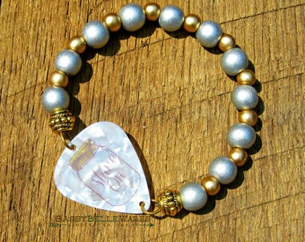 Guitar Pick Bracelet Mason Jar Shine On silver gold wood beads Southern charm pride saying phrase moonshine country girl rocker music