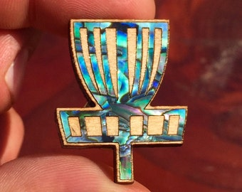 Wood and abalone Disc Golf Basket pin