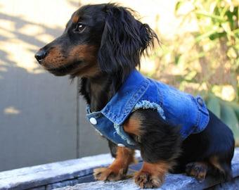 Denim Dog Jacket Vest Distressed Sleeveless Designer Raw Frayed Sleeves Pet Fashion Accessories Shirt Apparel Clothing by Pablo & Co