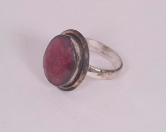 Sterling Silver Ring with Large Bezel set Ruby, size 7