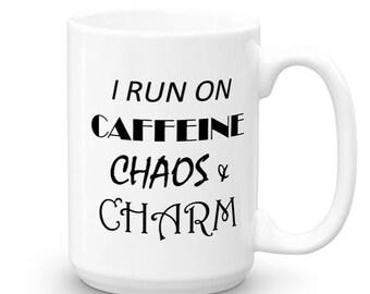 I Run on Caffeine Coffee Mug - Funny Mugs - Mugs with Sayings - Coffee Gift - Office Gift - Coffee Cup - Gift Under 20 - Coffee Mugs - Mugs