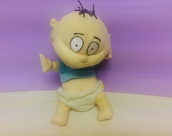 Rugrats Plush, Tommy Pickles Doll, 1990s Nickelodeon Toys, 90s Cartoon Tv Show, Cute Vintage Rugrats, Viacom 1998 Tommy Doll, Stuffed Tommy