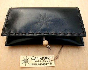 Tobacco holders papers in real leather hand-sewn Canapart artisan! Black