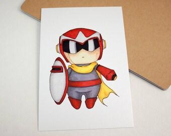 Mini Proto Man - 4x6 Print [ Capcom / Fan Art / Chibi ]