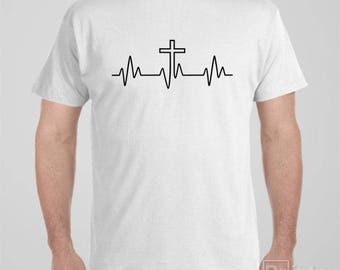 "Christian T-shirt ""Heartbeat Cross"" Bible verses Tee"