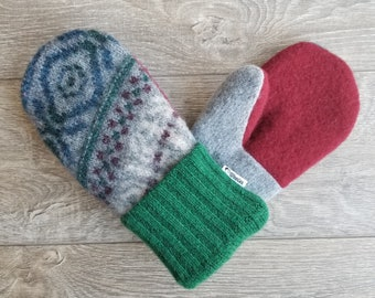 Best Wool Sweater Mittens // Womens Sweater Mittens // Fleece Lined mittens // Green Blue Red